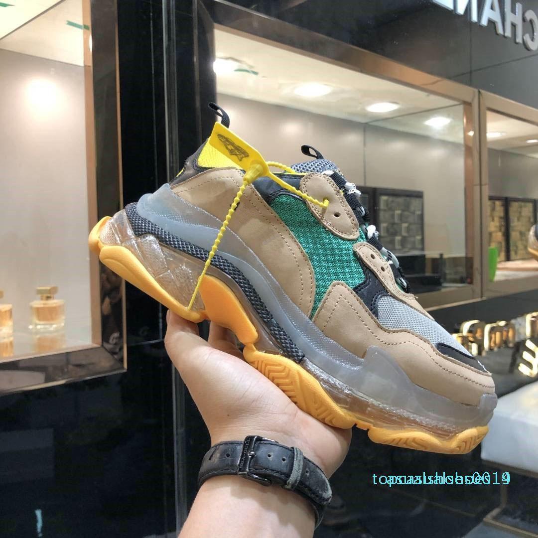 Paris cristal verde Triple Bottom-S Lazer sapatos de luxo Shoes pai Platform Triplo Sneakers Homens Mulheres Vintage Kanye Old Grandpa instrutor C14
