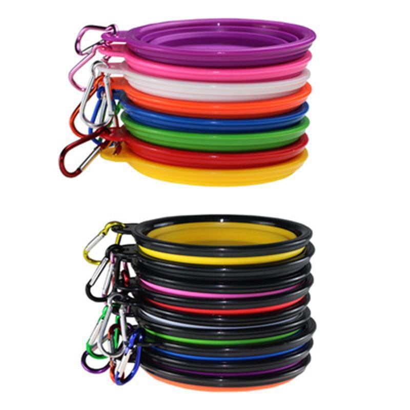 Chien bols en silicone chiot Pliable Bowl Pet alimentation avec bols Escalade Boucle d'extérieur Voyage Portable Dog Food Container DHE154