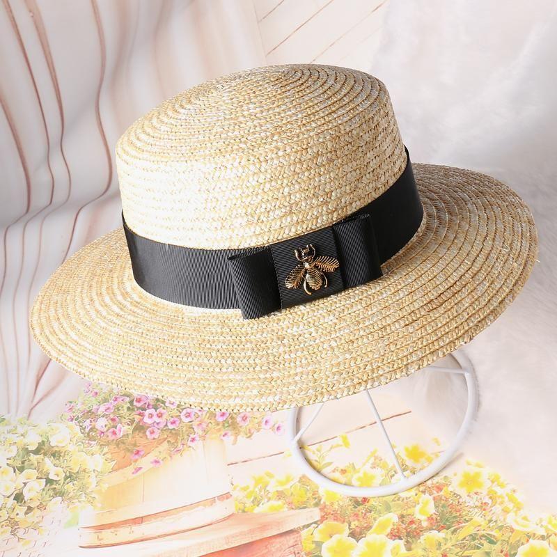 Gros- 2017 d'été du Nouveau Femmes plat Chapeau de soleil Honey Bee Bow chapeaux de paille chapeau de mode Panama
