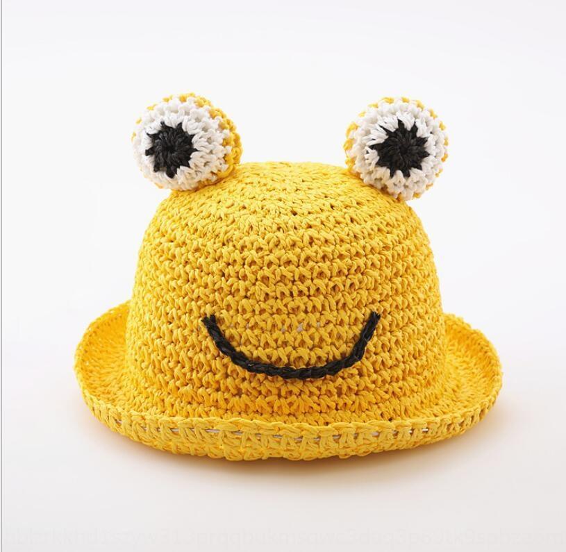 Little Frog Sun straw children's straw plaited large Eaves Children's hat Benhui sunshade hat