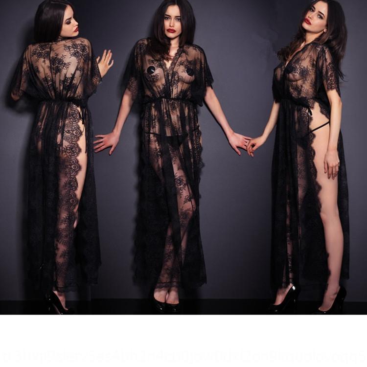 VBE6d Empuje Albornoz gama alta de la ropa interior atractiva 6633 de encaje perspectiva de la pierna de encaje de la moda de la ropa interior tentación albornoz pestañas lado abierto