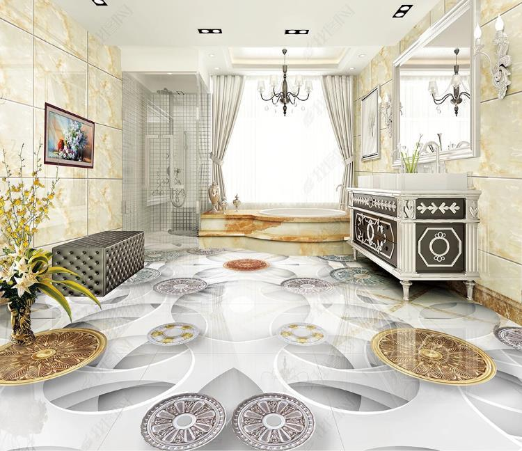 3D sur mesure Sol Carrelage Fond européen de la mode moderne mur Peintures murales Salle de bains Chambre salon PVC imperméable auto-adhésif autocollant 3D