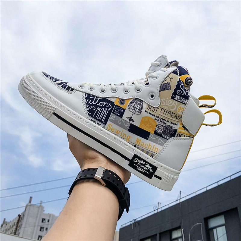 عرة السامي قص خربش مجلس عارضة PU GRAFFITI المتزلج الأزياء والأحذية الرجال الشقق سكيت حذاء رياضة أدنى قطعة الهيب البوب جلد فو Plimsolls cs09