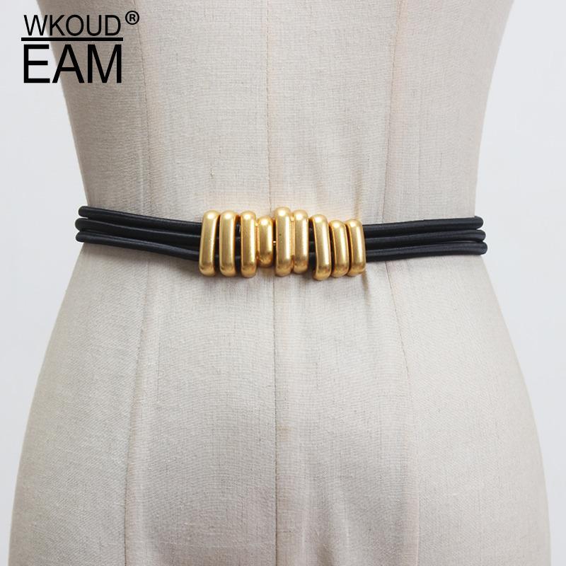 WKOUD EAM 2020 Novo Metal Buckle Elastic Belt Para Mulheres Moda Simples selvagem Vestido Corset Correia fêmea de alta qualidade Marca PF476
