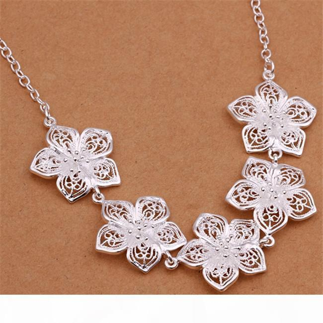 "J Factory Direct Sale Mulheres ""; S Sterling Silver Necklace Gtp50, Moda Flor pérola prata 925 Colar 6 Pieces A Lot Mixed Styl"