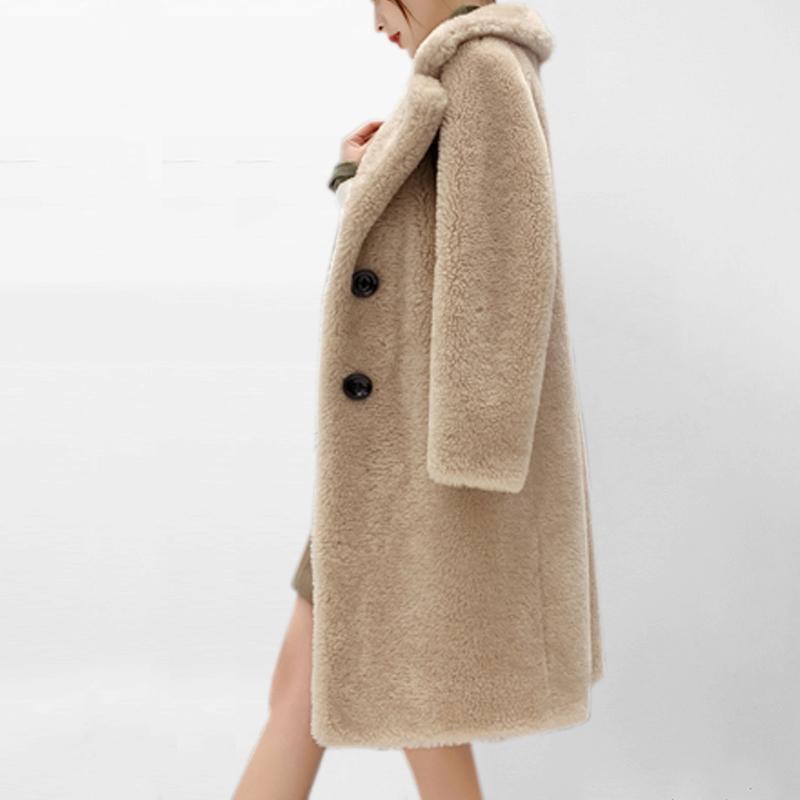 casaco de pele de imitação cordeiro no longa seção tosquia de ovelhas coat nova pele do inverno um 2020 outono e inverno das mulheres falso casaco de pele T200507