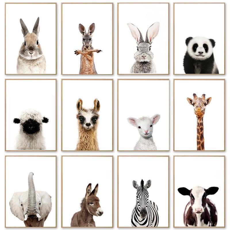 Kawaii bébé girafe animal zèbre Lapin Toile Poster Nursery Wall Art Print Peinture nordique Enfants Chambre Décoration Photos