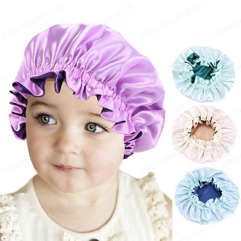 dupla camada de cetim dormir Caps Salon Bonnet para meninos meninas miúdos Crianças Noite Hat Hair Care Acessórios de Moda Turban