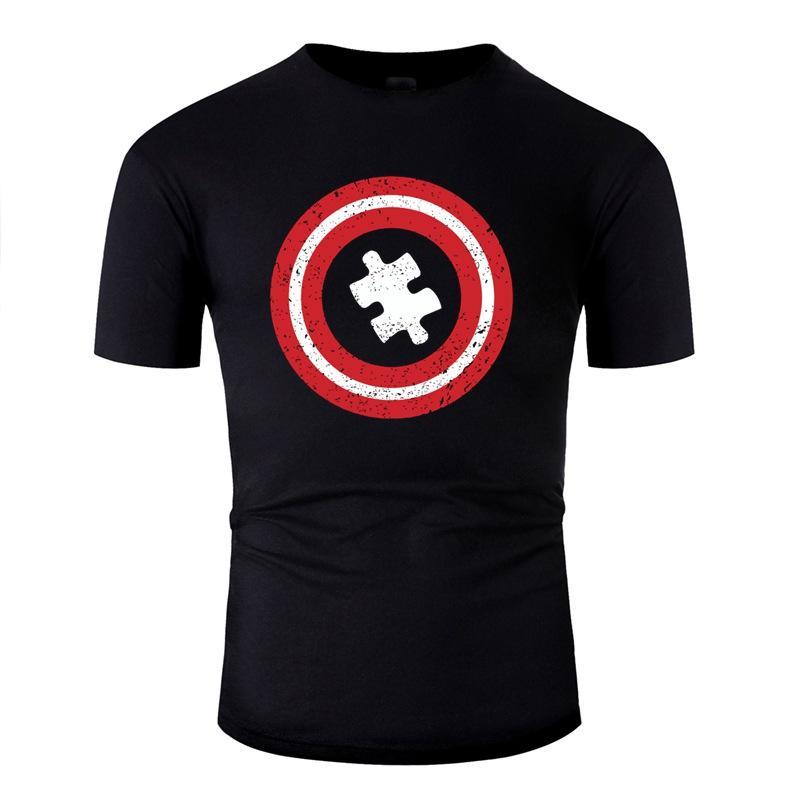 Malha autismo - Capitão do autismo - T-Shirt Super consciência do autismo para homens Classical Comic Homens e mulheres camiseta