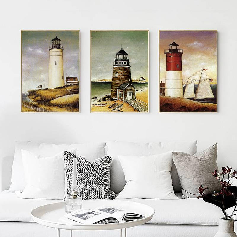 Retro Lighthouse Coast Sailing Landscape Wall Art Poster And Print Canvas Painting For Living Room Home Decoration No Frame