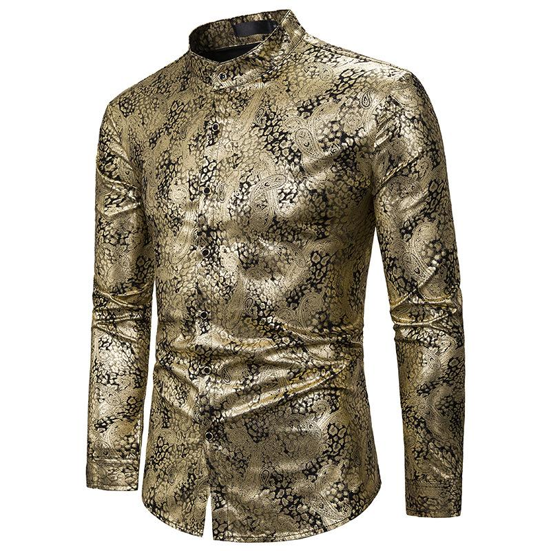 Brilhante ouro Paisley shirt Homens 2020 Marca Nightclub Mandarin Collar Vestido camisa do partido Mens Bar smoking camisetas Camisa Hombre