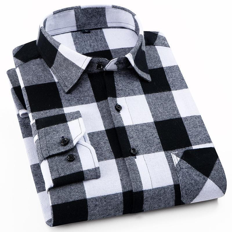 % 100 Pamuk Fanila Erkek Ekose Gömlek Slim Fit Erkek Casual Uzun kollu Gömlek Yumuşak Rahat Nefes Yüksek Kaliteli 4XL T200801
