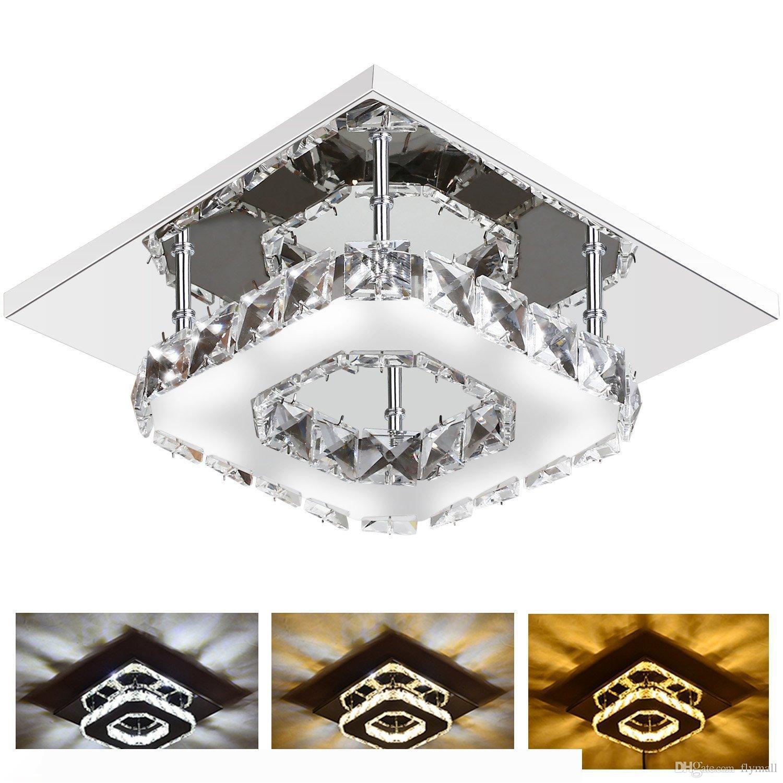 12W Moderne LED-Licht-Kristall-Quadrat Surface Mounted Lampe Kristall-Kronleuchter Leuchte Decke für Flur Korridor Asile Licht 85-265V