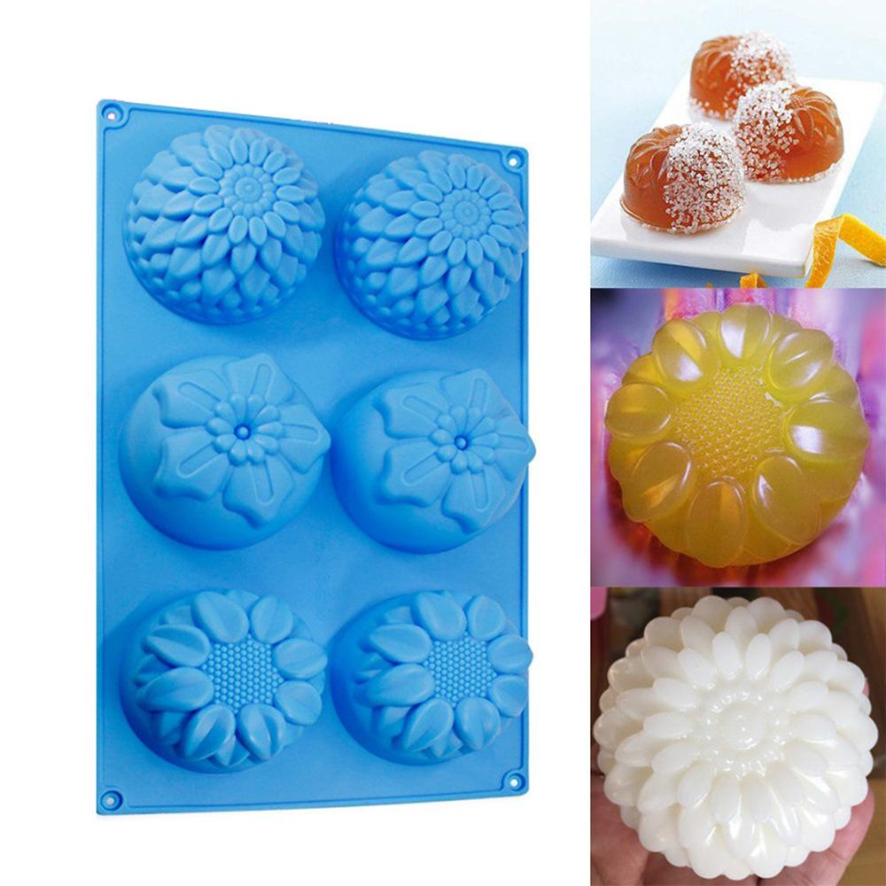 Useful 6 cavity Flowers Silicone Cake Mold Kitchen Bakeware DIY Desserts Baking Mousse Moulds Pan Tools