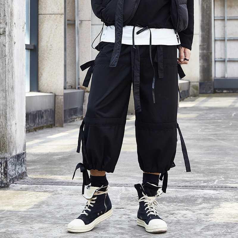 Mann-Sommer-Japan-Art-Weinlese-beiläufige Hosen lose Gürtel Gothic Dunkel Aufmaß High Street Streetharemshosen Jogger Elastic
