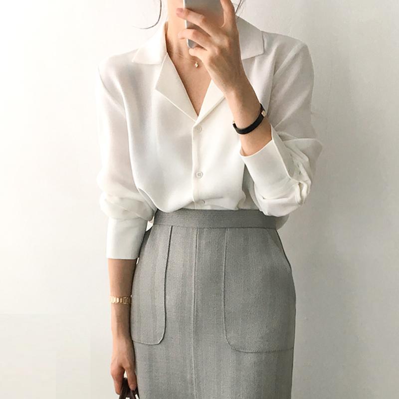 delle donne top e camicette chiffon solido bianco ufficio camicetta camicia Blusas mujer de moda 2020 donne lunghe del manicotto delle camice vestiti A405 T200801