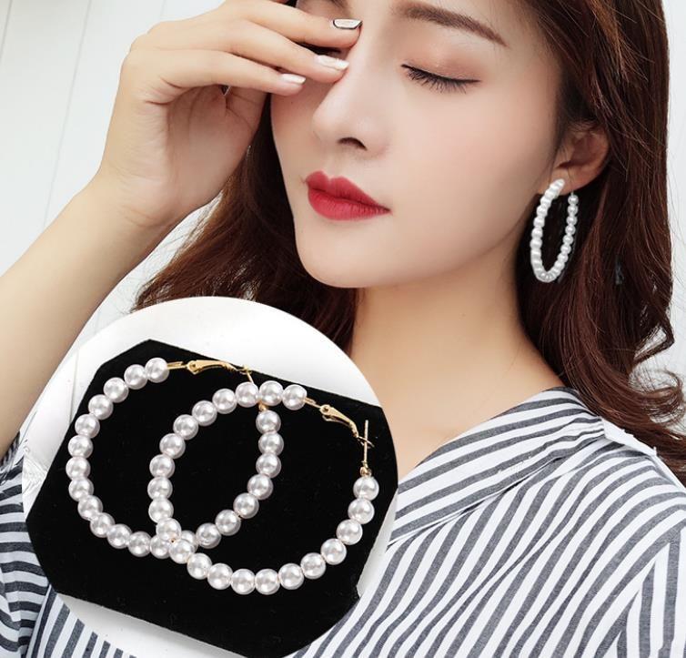 New Pearl orecchini di goccia per le donne esagera Oversize Pearl Circle dell'orecchio dei monili ciondola gli orecchini Fashion Europe Nightclub