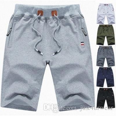 Mens Summer Casual Свободный пляж брюки Спорт Короткие штаны до колен одежда Мужской Сплошной цвет брюки quFd #