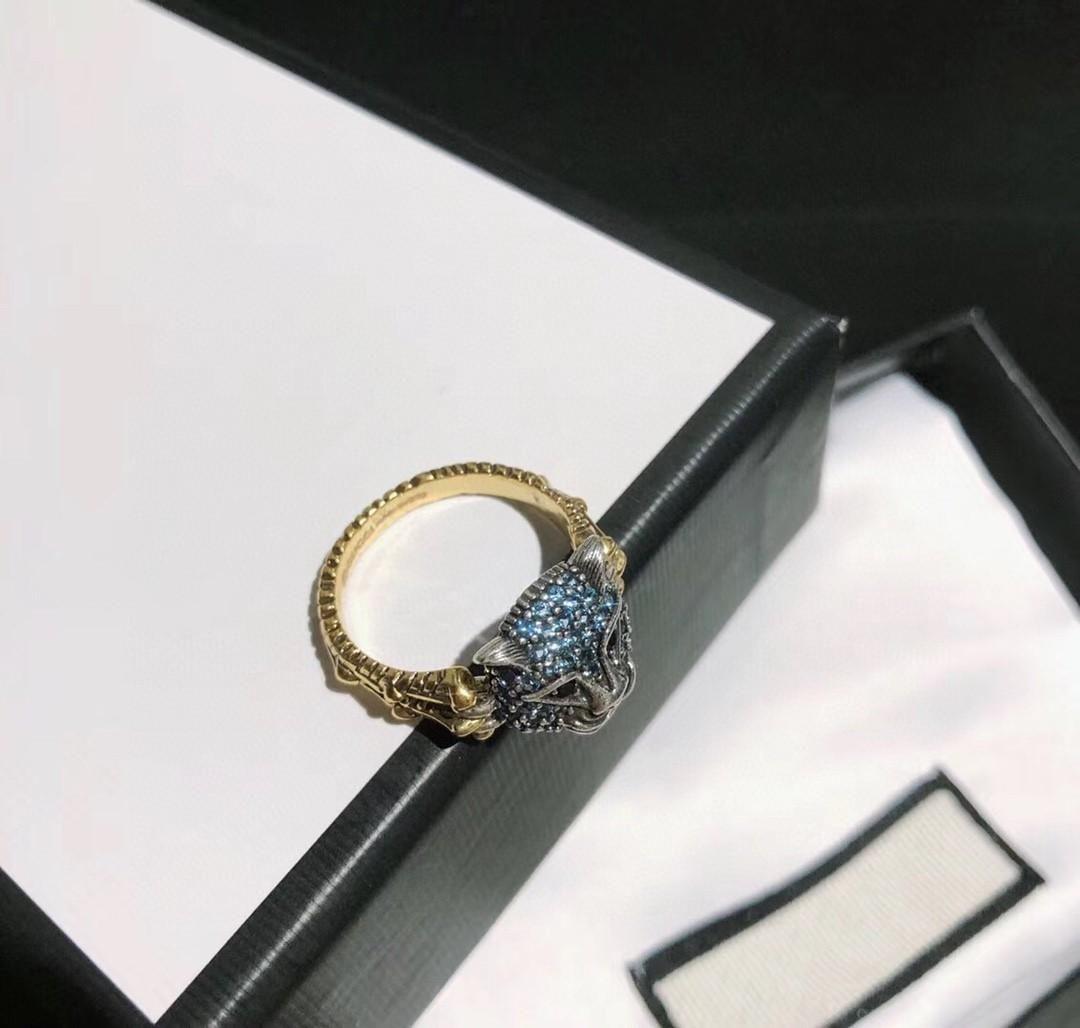 Nouveaux anneaux concepteur rétro diamant incrusté tête de léopard design de luxe anneau de femmes de bijoux