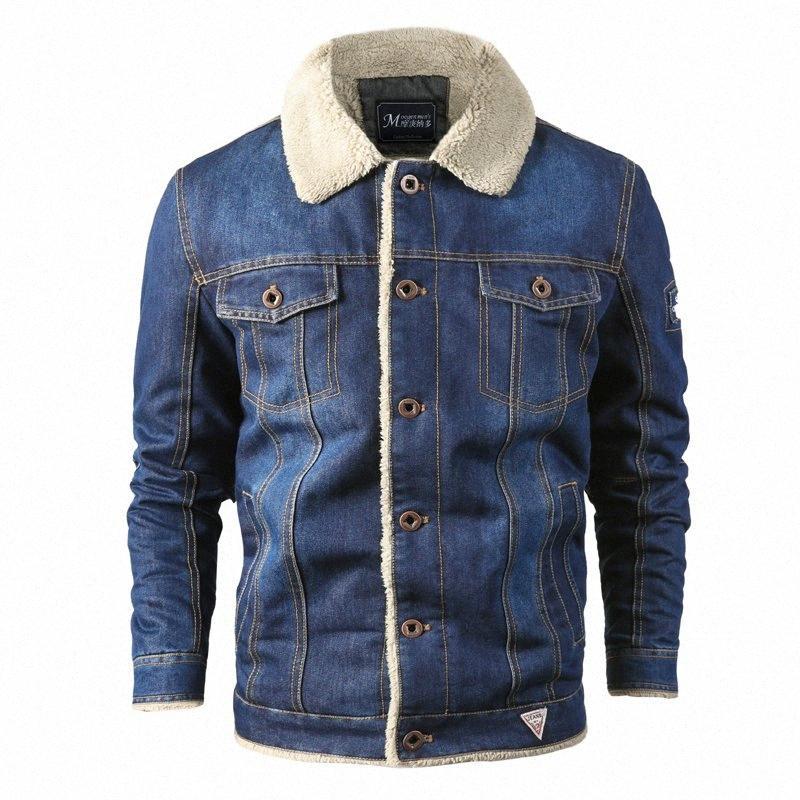 Denim Herren Jacke Wolle Liner Dickere Mantel-Winter-Jeans-Jacke Männer starke warme Bomber-Armee-Herren-Jacken Large Size hffW #