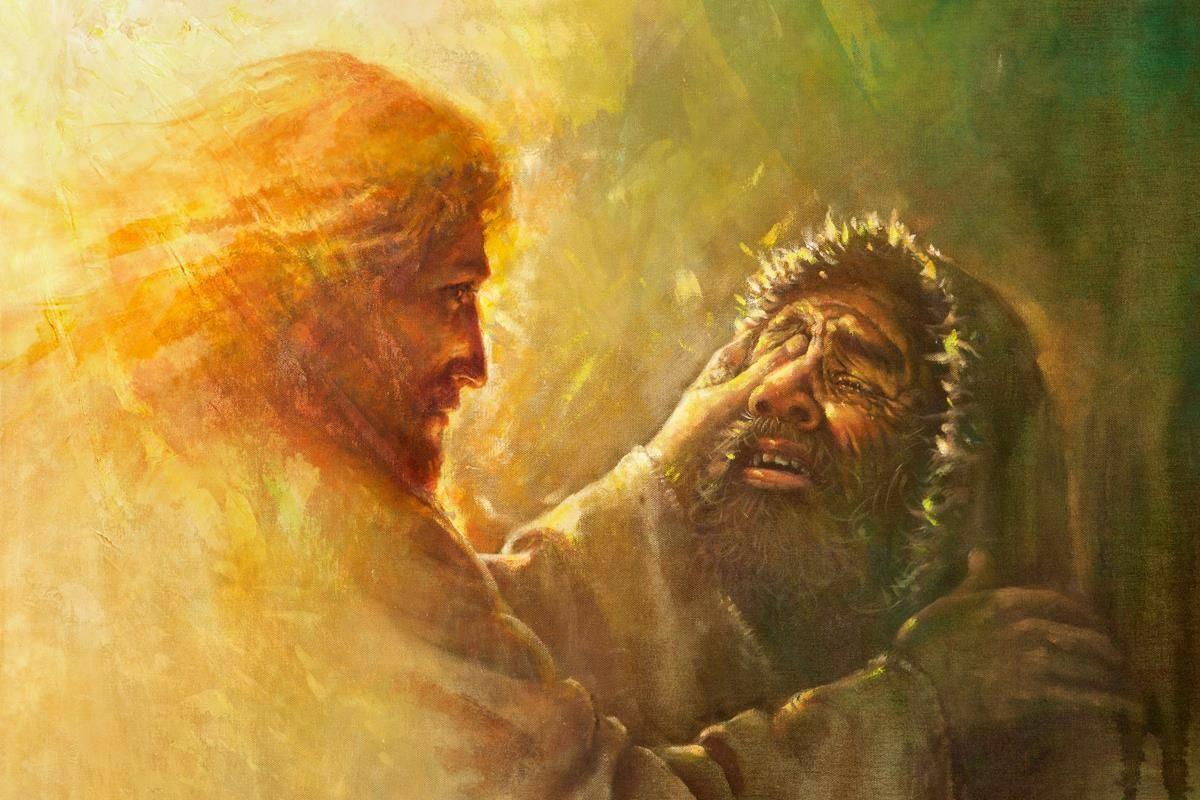 Yongsung Kim Jesus curando o cego Home Decor pintado à mão HD Pinturas Imprimir óleo sobre tela Wall Art Pictures A125