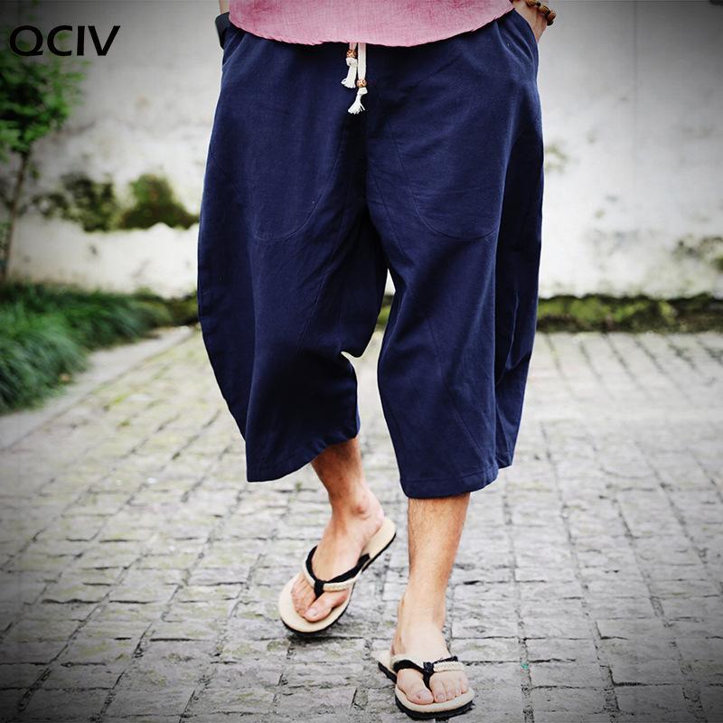 Calça Casual Men Moda Cruz Pants Verão solto Bezerro de comprimento Linho Sólidos cintura elástica Mens Marca Calças Plus Size 5XL