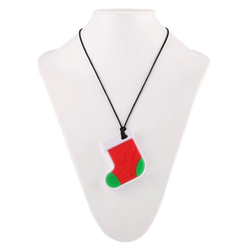 Silikon-Weihnachtssocken Beißring Food Grade Silikon Zahnen Halskette Spielzeug Baby-Dusche-Geschenke
