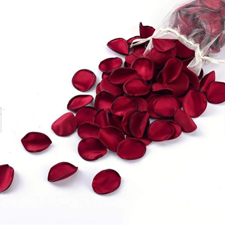 200pcs/bag amazon hot sale Shining life romantic satin artificial flower rose petals for wedding decoration