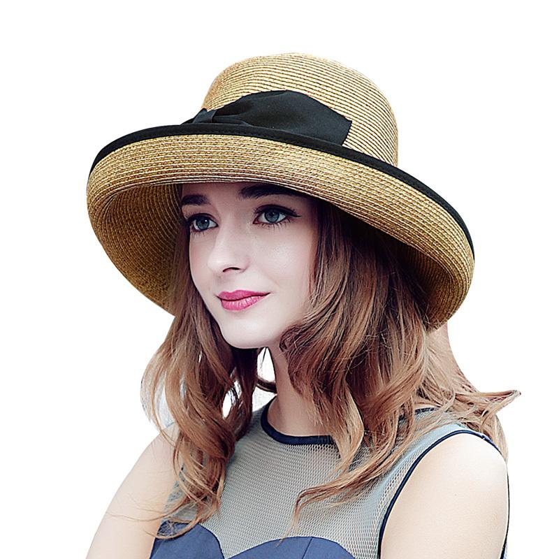 2020 New Verão Grande Cap elegante Brim Praia Chapéu de Sol por Mulheres Proteção UV curva preto Chapéus de palha meninas Hot SW129001 Y200716