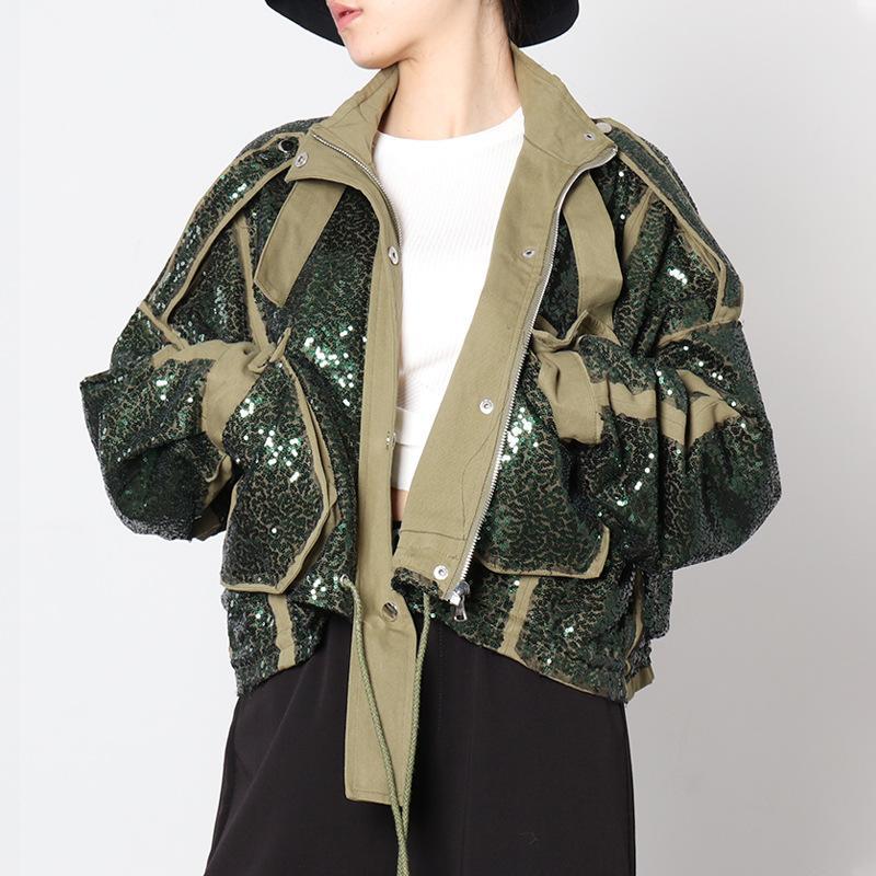 Paillettes moda donna giacca da donna allentata corto cappotto tascabile con cerniera con cerniera con colletto bomber giacca streetwear femminile manica lunga giacche