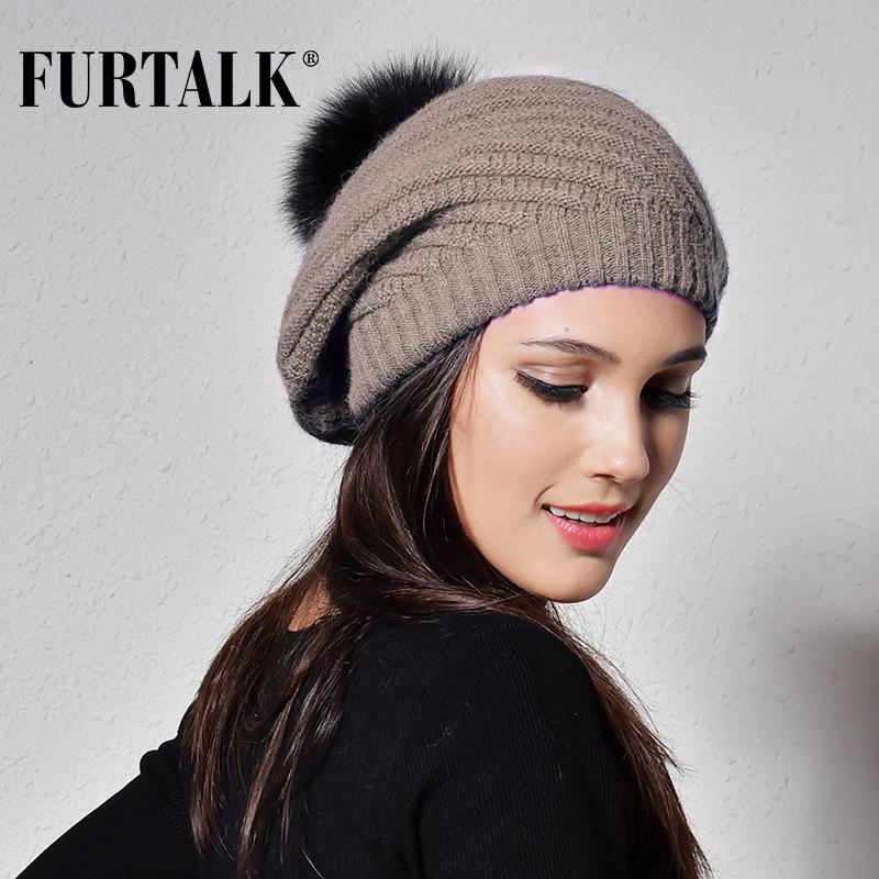 Kadın kızlar için Kadınlar Angola Tavşan Kürk Şapka Bayanlar Sıcak Ponpon Şapka Örme Beanie için FURTALK Kış Bere Şapka bere femme T200718