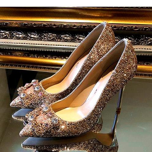 أزياء المرأة أحذية الكعوب العالية الذهب الفضة الأحمر رائع حجر الراين البراقة الزفاف أحذية الزفاف حجم 34 إلى 41 Tradingbear