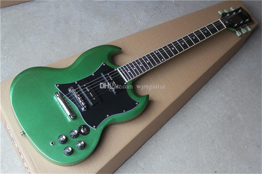 свободный перевозк груз SG зеленый алюминий м порошковой краска гитара, хром оборудование, красное дерево корпус, черный P90 пикапы, черная накладка