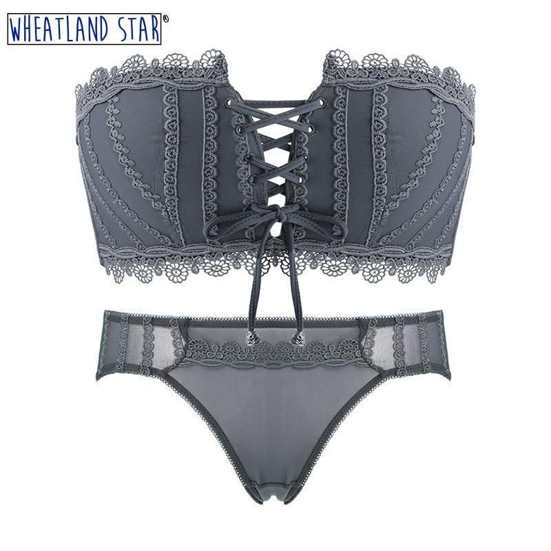 Lingerie Feminina Sexy Hot Wire Free Bra Underwear Set Lingerie Push Up Women's Intimates Fashion Tube Top 2020 Bra & Brief Sets Y200710