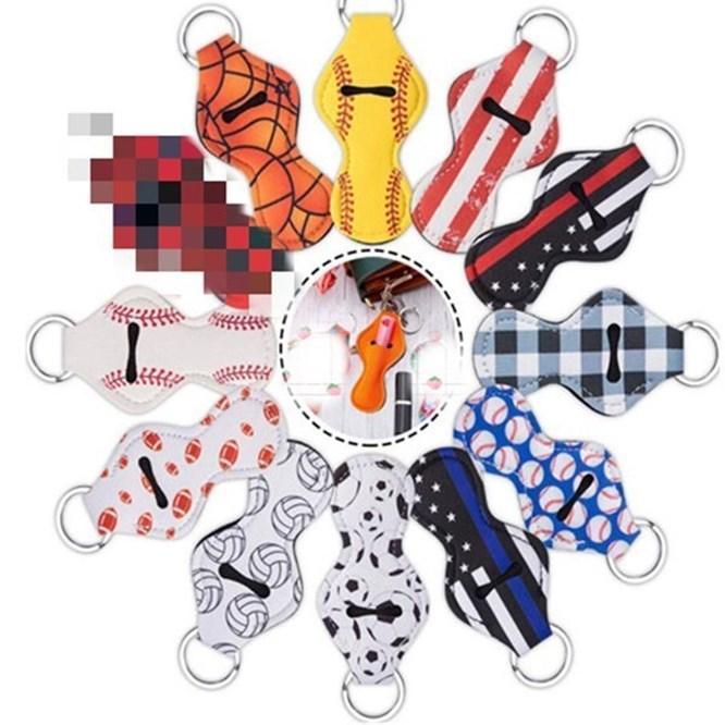Neoprene Keychain Chapstick Holder Leopard Keychain storage bags Wrap Lipstick Holders Lip Cover Sports Printed 61 Designs SF31