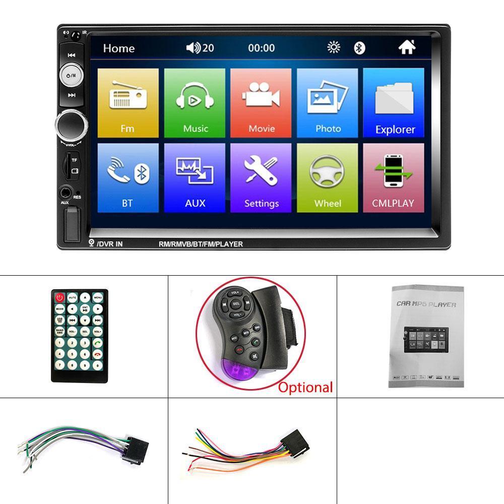 "MP5 Car Radio 7"" HD Autoradio Multimedia Player 2DIN Touch Screen Auto audio Car DVD Player Stereo MP5 Bluetooth USB TF FM Camera"