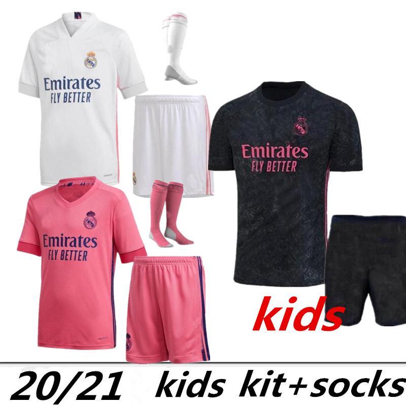Enfant Set Boys Madrid Soccer Jersey19 20 21 Hazard Sergio Ramos Benzema Vinicius 2020 2021 Camiseta Chemise de football Uniformes Kit Kit Jersey