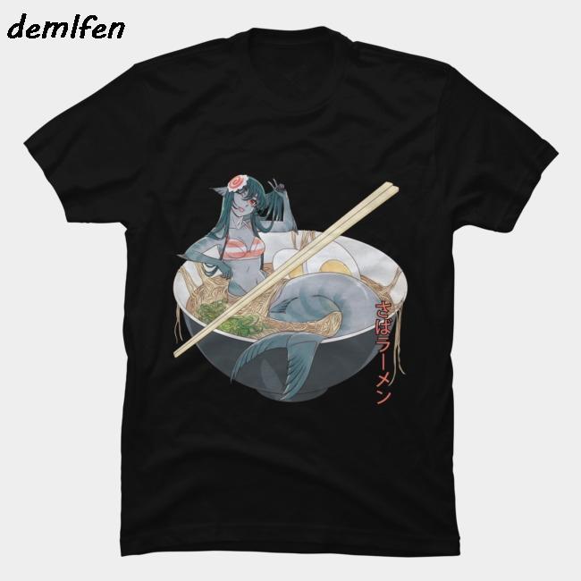 été animée Maquereau Ramen T-shirt drôle Harajuku streetwear hommes manches courtes tees shirt de coton o-cou sommets