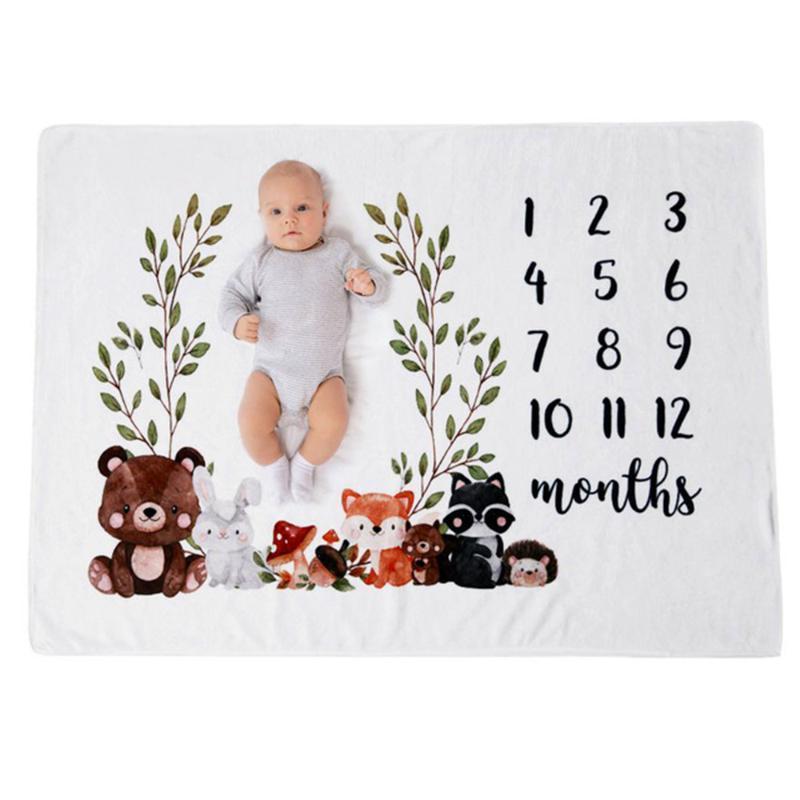 Bebé recién nacido Milestone cálida manta de felpa suave lecho de empañar Wrap accesorios de fotos infantil Baño Niños Toalla Envolver juega las esteras