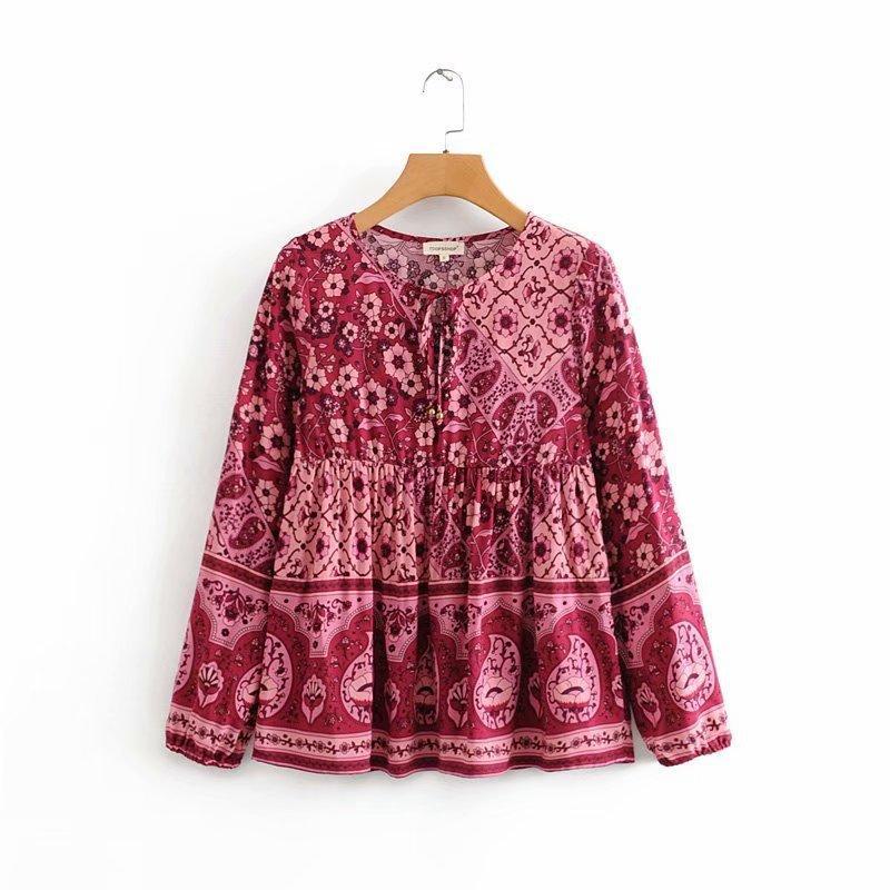 2020 Primavera Estate New Morning Glory Stampa pizzo zaraing donne camicetta delle parti superiori vestiti sheining vadiming camicia femminile DFJ8533