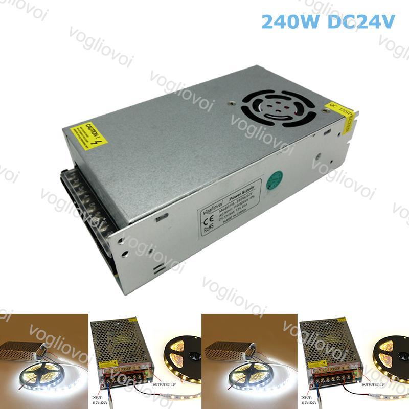 Transformadores de iluminação DC24V 240W Acessórios de prata de alumínio 110V-240V para 3528 5050 Strip Sign In Pixel Module Light DHL