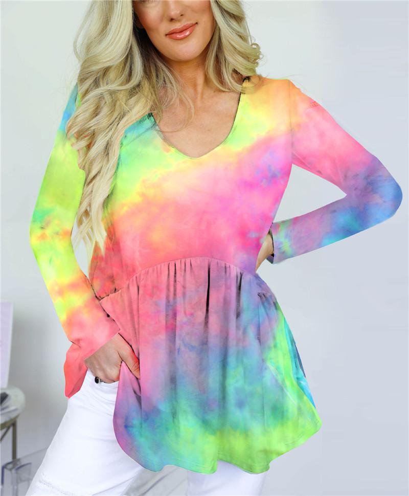 Colorful Tie Dye Womens Tshirts V Neck Sexy Loose Home Womens Designer T Shirts Elastics Waist Long Sleeve Ladies Tops