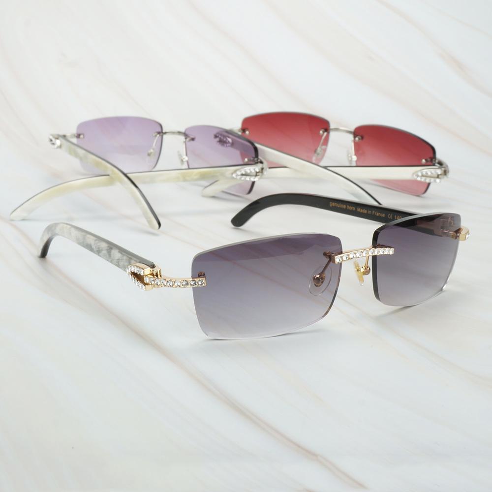 Luxo White mix preto chifre de búfalo óculos de sol para homens Womens Sunglasses Marca Designer Carter Eyewear para a pesca Rave Festival