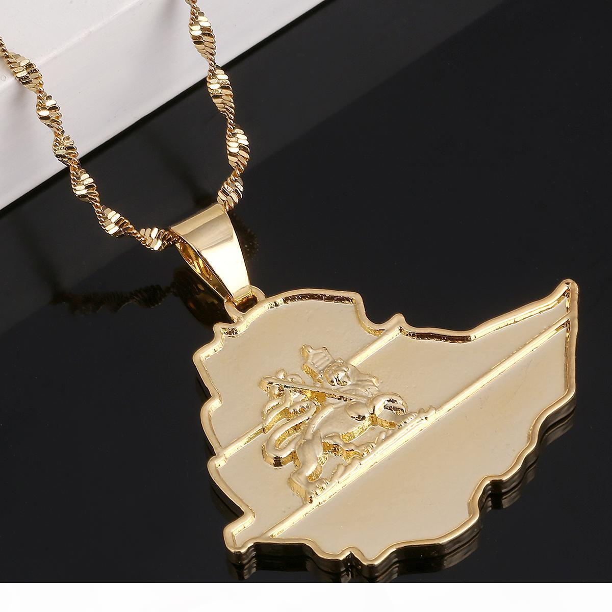 Etiyopya Lion kolye kolye Afrika Altın Zincir Kolye Harita Takı Of E Altın Kaplama Emaye Haritası