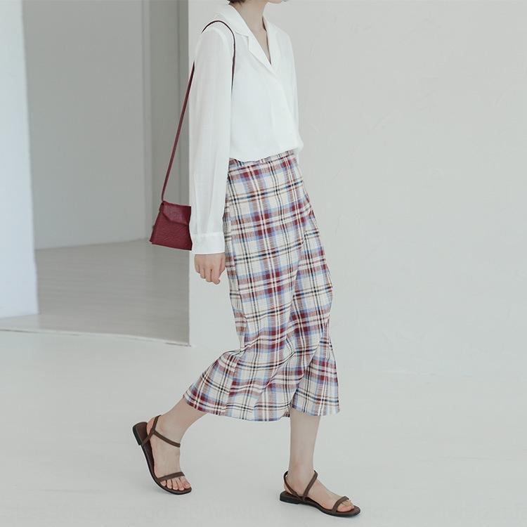 1eFWD Orta uzunlukta 2020 Etek ekose yeni Hong Kong tarzı yüksek kalça elbise sanatsal öğrenci Ekose bel hepsi maç etek moda
