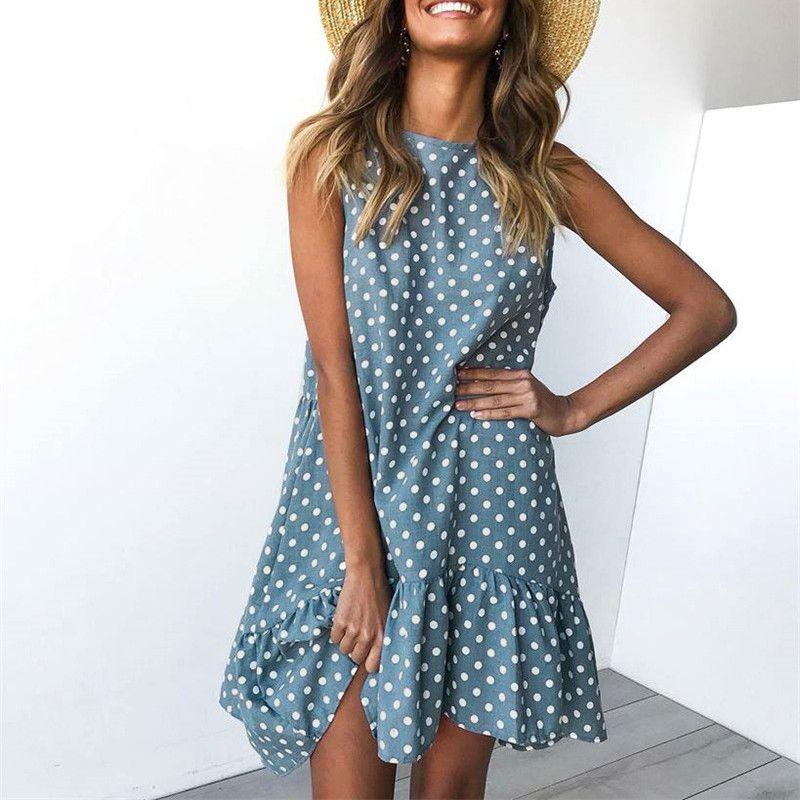 das Mulheres vestido sem mangas Midi Polka Dot Bohemia Beach Party Vestido de Verão Verão Plus Size Female Roupa Vestidos