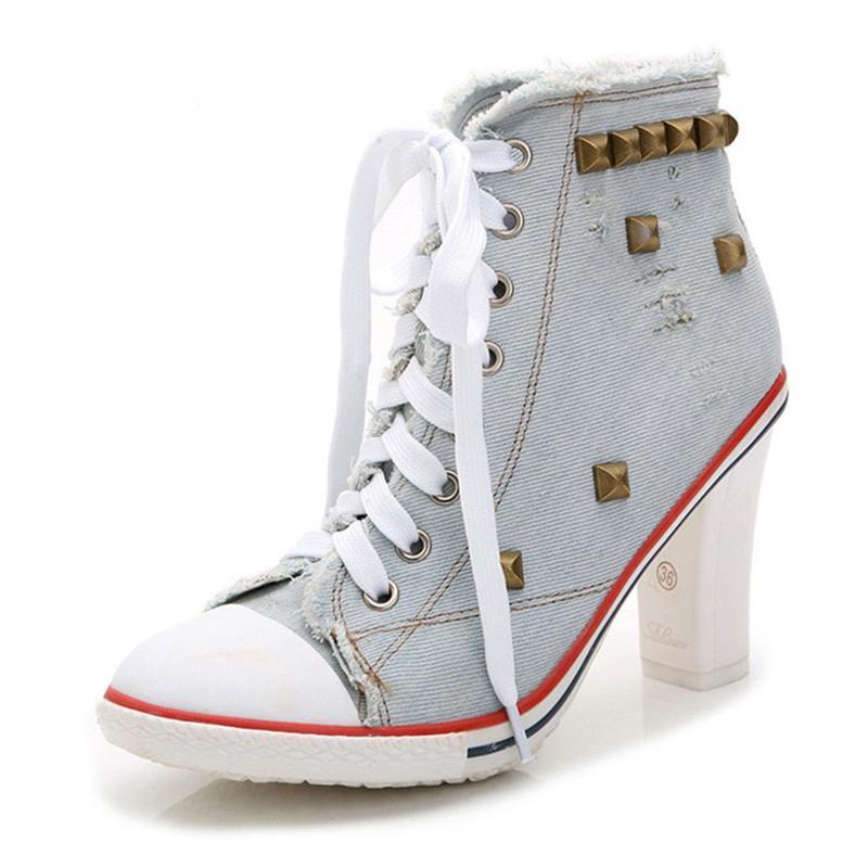 2020 новых женщин насосы Мода Новый дизайн Заклепки Женщины квадратные каблуки Качество Высокие каблуки Осень леди Комфортная Shoes2daa #
