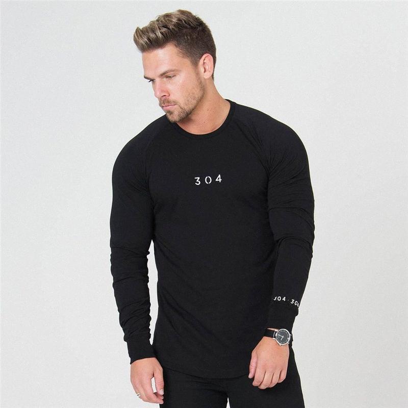 2020 Hommes Nouveau Mode Casual Slim 304 Salles de sport Impression T-shirt Hommes Fitness culturisme Marque stripe manches longues T-shirts Tops Wnvp #