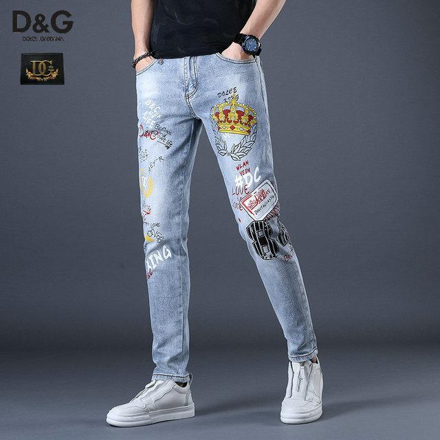 Los nuevos hombres de la moda los pantalones vaqueros negros flacos rasgados estiramiento delgado de la cadera al oeste hop botín pantalones de motorista de la motocicleta del dril de algodón del basculador ~~ # GJ200