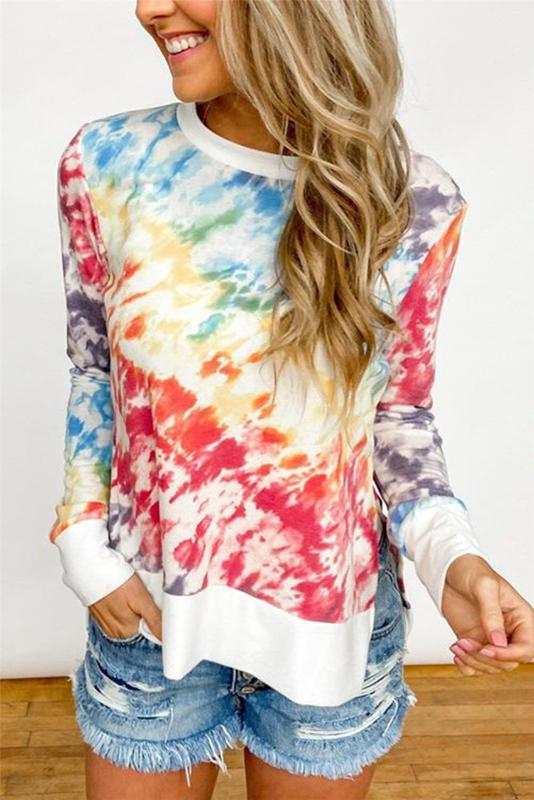 Multicolor Long Sleeve T-shirt Women Tie-dye Tops Tee Casual Loose O-neck Tee Shirts 2020 New Spring Autumn ropa mujer 3XL